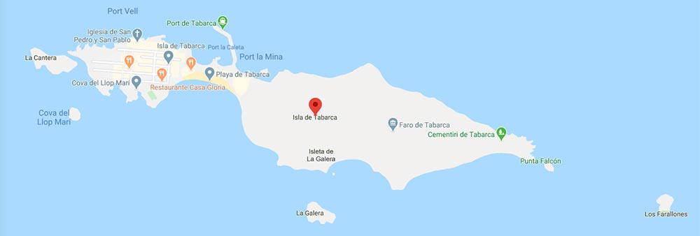 Mapa de la Isla de Tabarca en Alicante