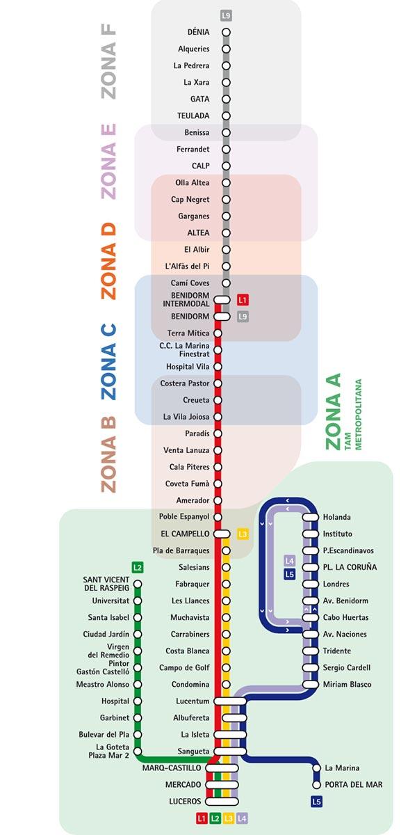 Mapa de zonas del TRAM de Alicante