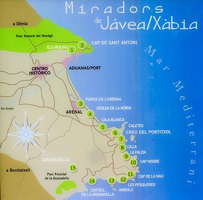 panel con el mapa de los miradores de Jávea