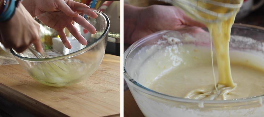 preparación bizcocho tiopo coca boba con yogur