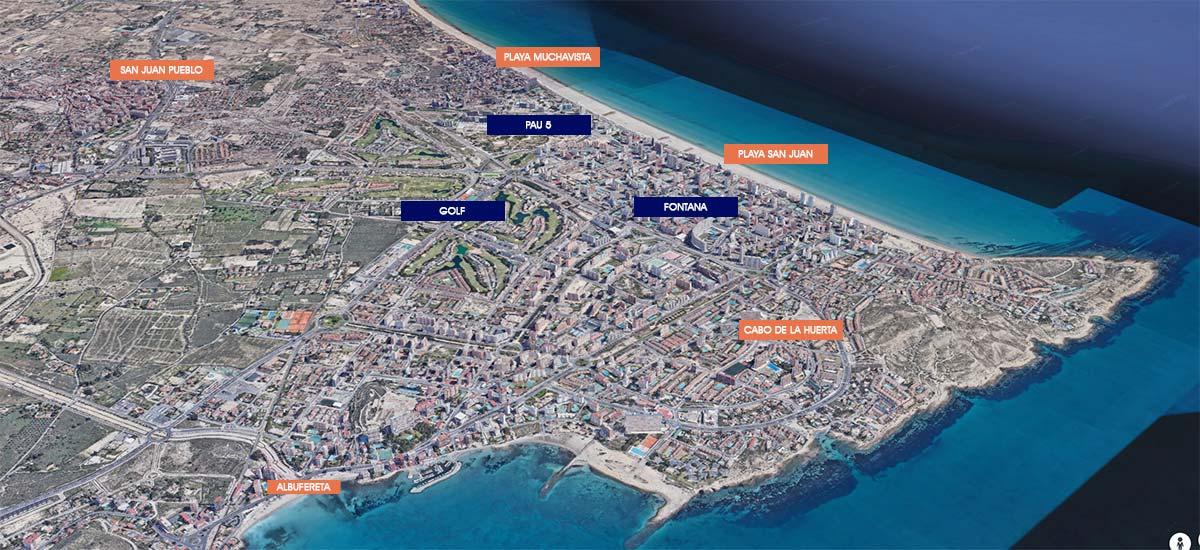 mapa Playa de San Juan Alicante