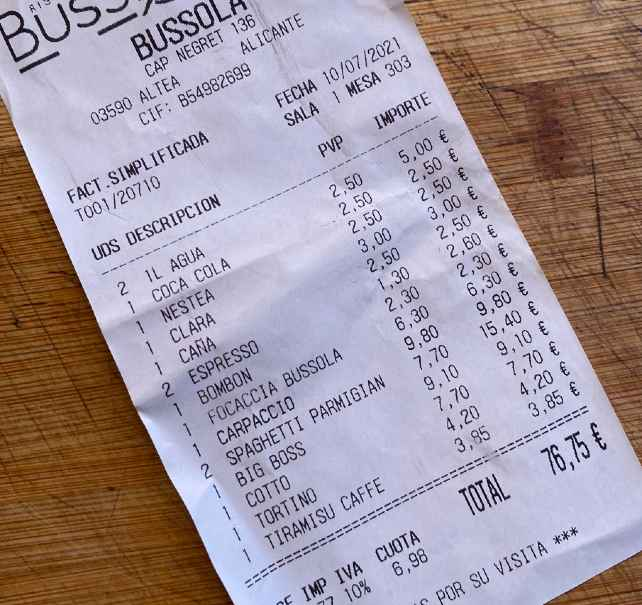 Ticket comida 4 personas en Bussola Altea