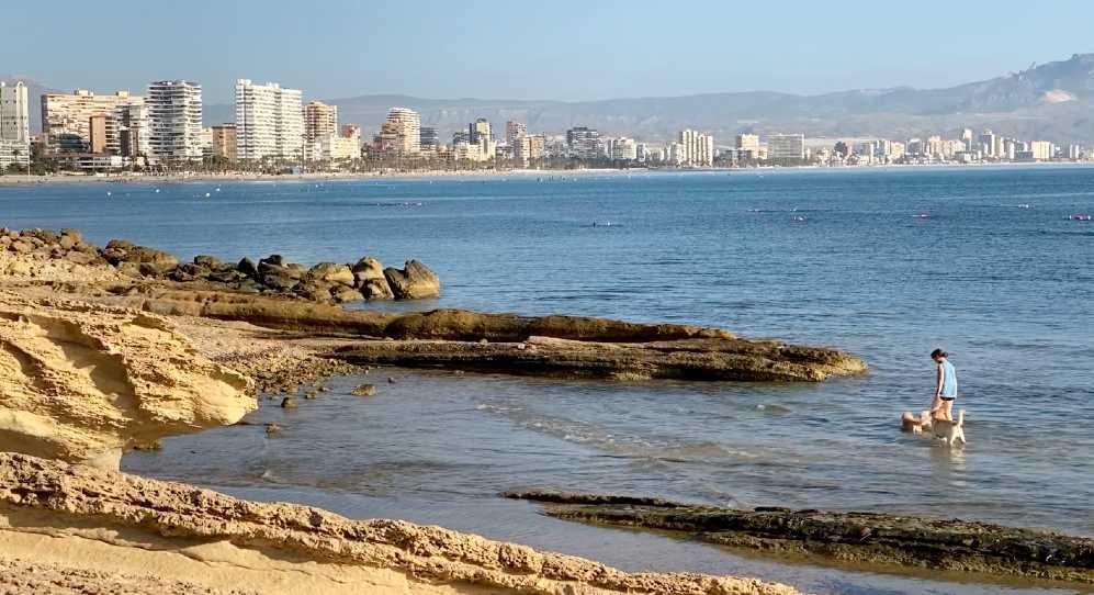 Plano General de la Playa San Juan desde cala del Cabo de la Huerta